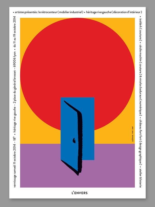 Lenvers invitation postcard graphic design studio château fort