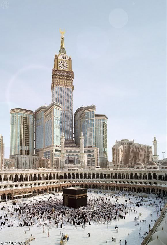 The finest accommodation in the Holy City, Makkah Clock Royal Tower will be a commanding 76-story hotel—one of the world's tallest—and the focal point of the Abraj Al Bait Complex, part of the King Abdul Aziz Endowment Project. Among its outstanding features will be a 40-meter (130-foot) clock, which, visible from 17 kilometers (10 miles) away, will announce daily prayers to the Muslim world; meanwhile, the Lunar Observation Center and Islamic Museum aim to preserve.