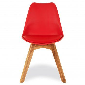 Eames Inspired Red Dining Chairs With Solid Oak Crossed Wood Leg Base
