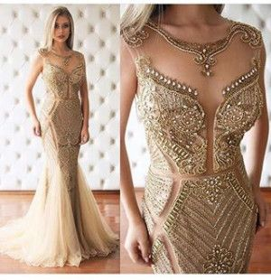 Vestido de formatura, vestido de festa dourado