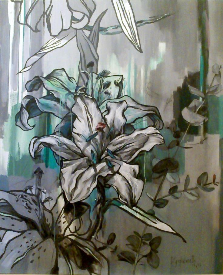 serie coloring flower, febrero 2013  acrílico sobre tela  110 x 91 cms