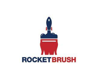 Rocket Brush Logo design - Logo design of a rocket taking off, shaped like a paint brush.  Price $299.00