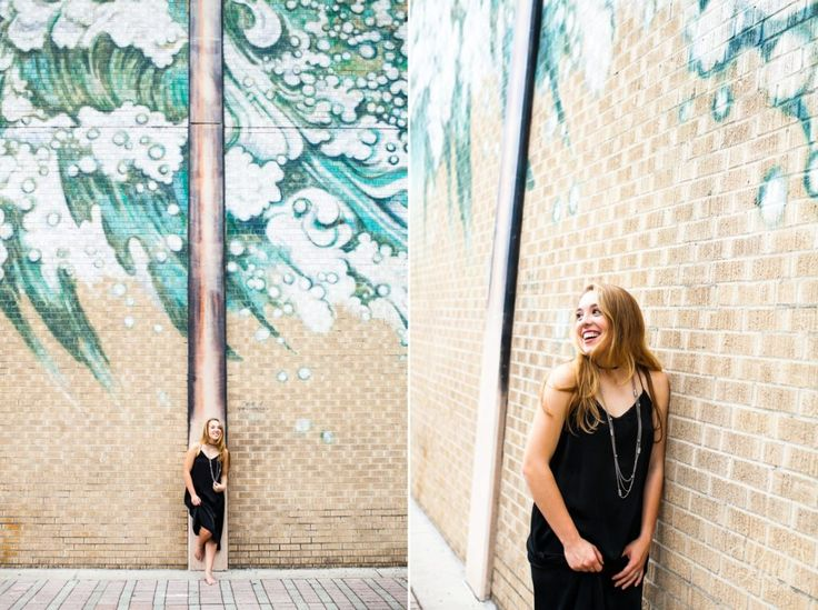 Senior Portraits in Front of Mural Wall with Ocean Waves in Downtown Orlando, Photoshoots in Front of Mural, Unique Not Your Average Senior Portraits, Mural of Ocean Waves in Orlando, Trendy Edgy Senior Pictures, Senior Portrait Photographers in Orlando, Orlando Senior Photography, Senior Pictures in Orlando Florida, Lucy MacLeish Photography