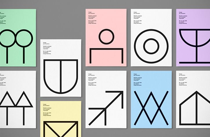 Italian designer Davide Di Gennaro AKA DDG's identity for San Marino University's design workshop week puts icons and symbols to excellent use. Graphics for each event in the seven-day series at the Italian institution utilised different icons, and as the theme for the 2015 workshops was design for territory, Davide's identity draws on symbols related to cartography and map-making. Simple and largely undecorated, the back-to-basics design is thoroughly pleasing to the eye.