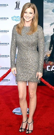 Emily VanCamp sparkles in a Monique Lhuillier dress at the 'Captain America: The Winter Soldier' Hollywood premiere