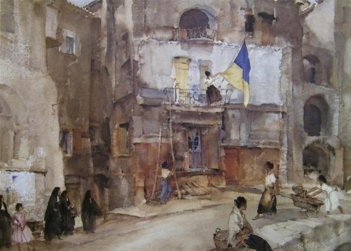 The Town Flag, Sospel -  Sir William Russell Flint