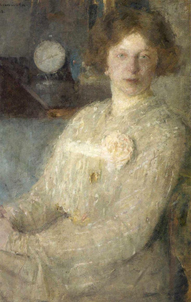 """Olga Boznańska """"Portret panny Dygat (Portret małej damy)"""", ok. 1903, olej na tekturze, 82 x 60 cm, Muzeum Orsay, Paryż"""