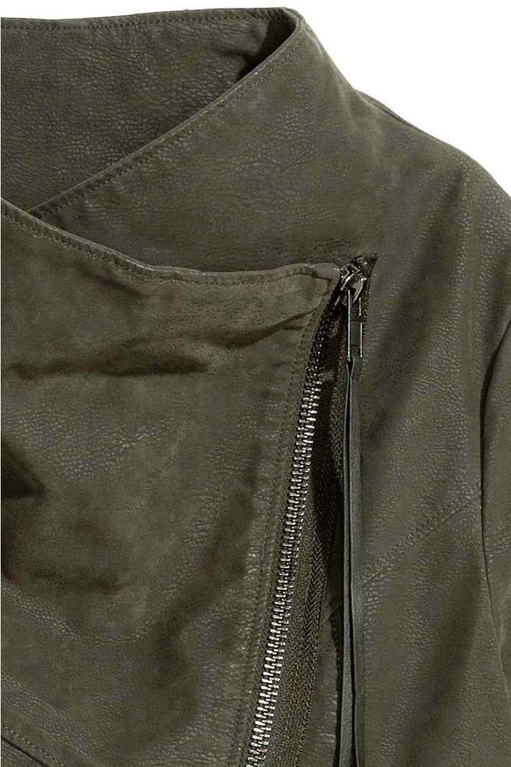Kurtka w stylu motocyklowym - Zieleń khaki - ONA | H&M PL