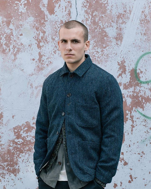 Tom's wearing our Chore Jacket in Harris Tweed, Cardigan in soft wool twist, Shawl Collar Overshirt in granite cord, and Pocket Tee in marl cotton. - #universalworks #nottingham #london #mensweardaily #menswear #ootdmen #bakersjacket #chorejacket #orindaryfits #harristweed #cardigan #layer #cord #overshirt #winter #aw16