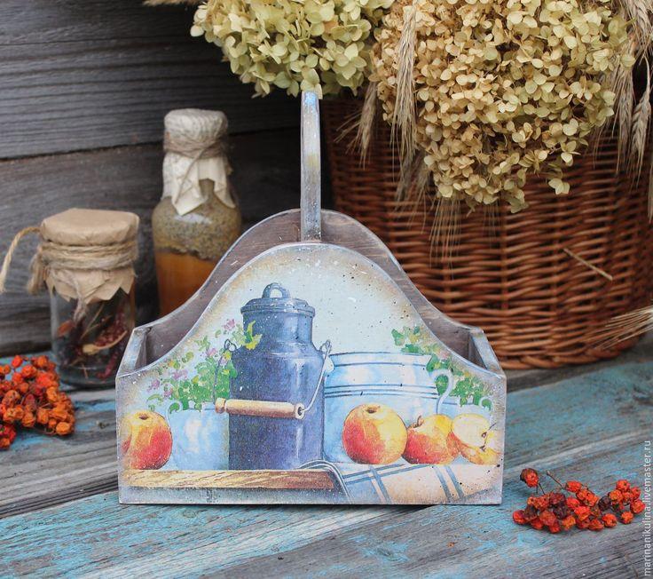 """Купить """"Утро в деревне"""" короб -подставка - голубой, деревенский стиль, деревенский, кантри, короб для хранения"""