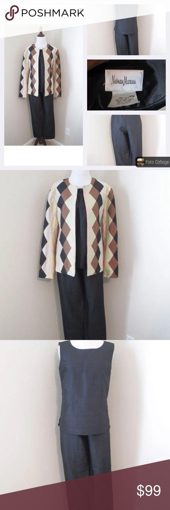 "NEIMAN MARCUS Black Silk Pant Shell Jacket Suit S Gorgeous NEIMAN MARCUS 3Pc Pant Suit in MINT CONDITION  100% SILK  Sz S  Jacket:  Bust 38"" / Length 25""  Shell:  Bust 36"" /Length 22""  Pant:  Waist 24-28""/Rise 12.5""/Inseam 28"" Neiman Marcus Other"