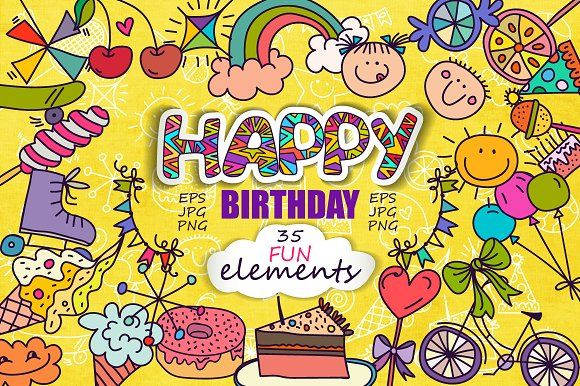 """Birthday!""  set of elements by Sofimix on @creativemarket"