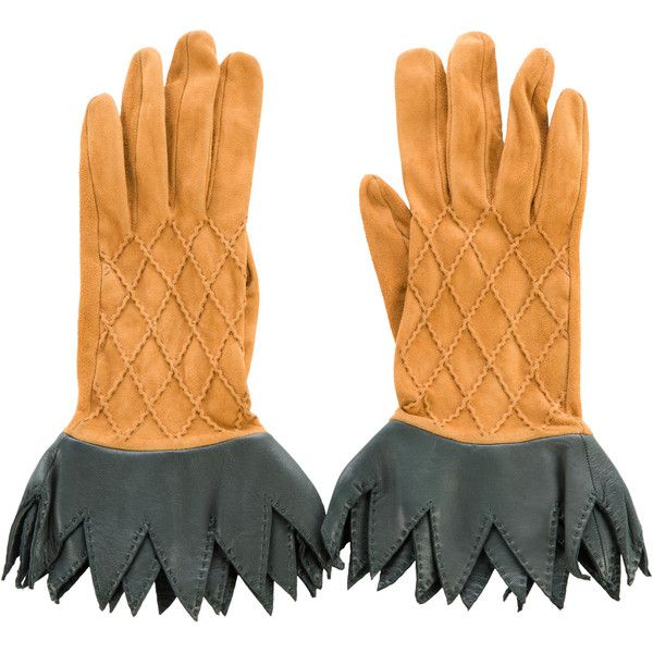 Pre-owned Herm?s Quilted Suede Pineapple Gloves ($245) ❤ liked on Polyvore featuring accessories, gloves, yellow, suede leather gloves, quilted gloves, hermes gloves, yellow gloves and suede gloves