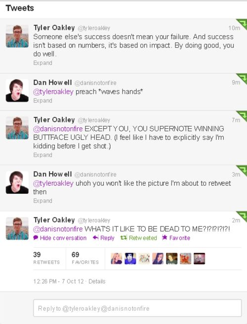 LOL! I laugh every time I read this. When will Tyler Oakley learn that danisnotonfire will always be a step ahead.
