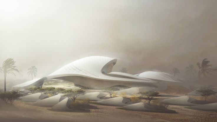 Zaha Hadid designs dune-inspired headquarters for environmental firm.