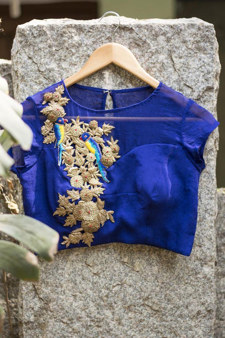 Ultramarine blue sheer yoke blouse with zardosi appliqué | House Of Blouse