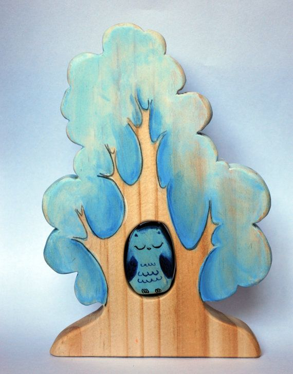 Waldorf inspired wooden puzzle made with natural wood, beeswax, water based paint. Winter Tree and blue owl, woodland animal set Puzzle/ Handmade by JuguetesEloisa on Etsy