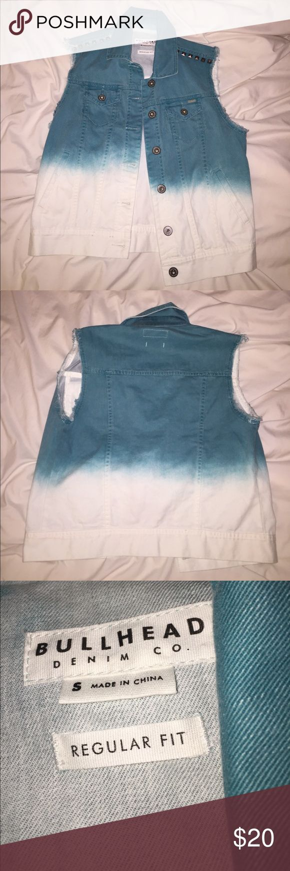 Distressed Teal and White Ombré Studded Denim Vest Ombré denim vest from Bullhead Denim Co. This is new and has never been worn, so it has no rips or stains and is in great condition. If you have any questions, feel free to ask! Bullhead Jackets & Coats Vests