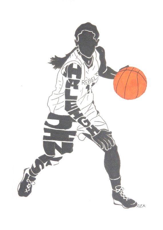 Girls basketball team silhouette