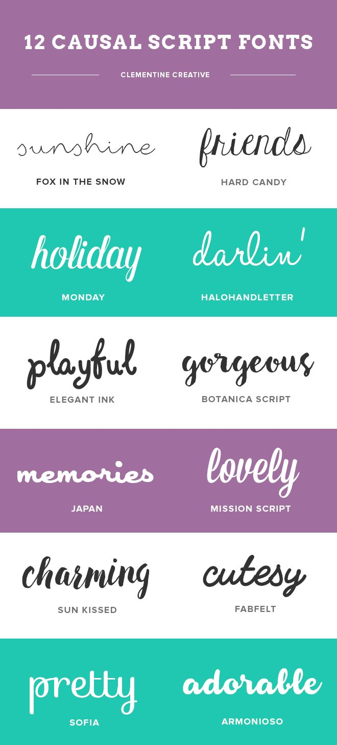 12 casual script fonts that are perfect for any fun, carefree occasion. These fonts can be used on pool party invitations, kids party invitations, birthday cards, casual wedding invitations and other stationery, scrapbooking, blogs, and more.