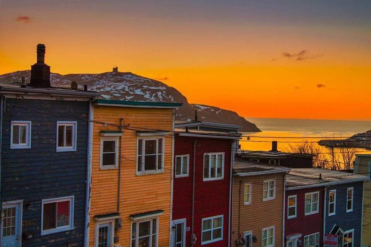Sunrise in Old St. John's, Newfoundland with Cabot Tower in the background