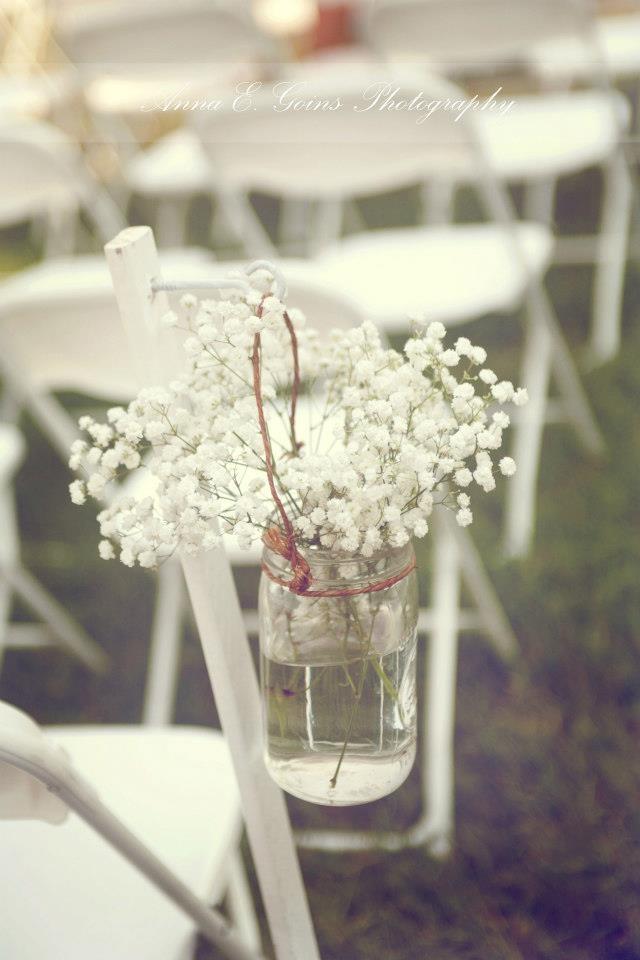 Wedding decor, babies breath, mason jars, vintage wedding, antique ideas, wildflower look, aisle decorations, country wedding, shabby chic, white chairs, rustic decor