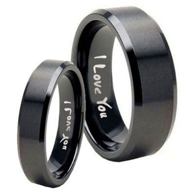 Amazon.com: 2pcs Tungsten I Love You Matte Black Flat Top Ring Set Size 4, 8: Jewelry