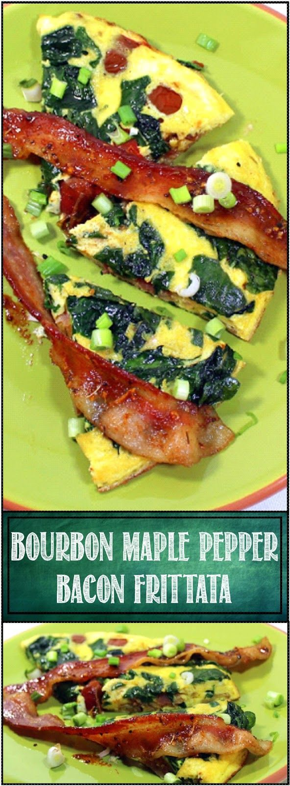 Spinach and BOURBON MAPLE PEPPER BACON Frittat...It's almost a Quiche Lorraine Fritatta, but I added some Tomatoes and Spinach for color AND some AMAZING Glazed BACON... BOURBON - MAPLE SYRUP - FRESH CRACKED PEPPER BACON BACON BACON best omelette EVER!