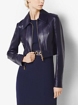 Plonge recortada chaqueta de cuero de Michael Kors