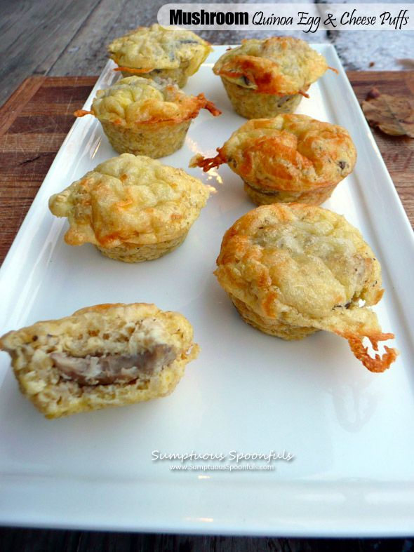 Mushroom Quinoa Egg & Cheese Puffs ~ Sumptuous Spoonfuls #appetizer #recipe