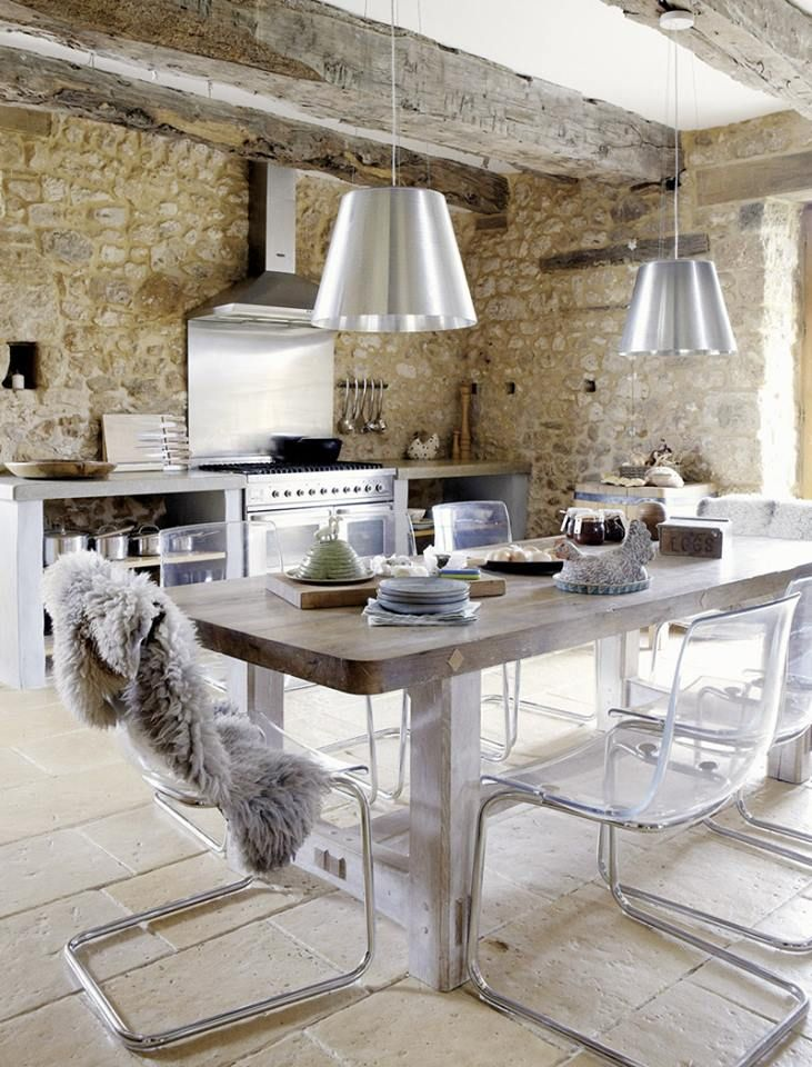Modern Rustic Kitchen Old Stone Walls Stainless Steel Stove And Backsplash Wood Table Lucite Chrome Dining Chairs Vintage House In Dordogne