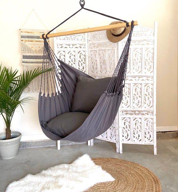 Gray Hammock Chair Boho Hammock Swing Porch Swing Chair Etsy In 2020 Porch Swing Chair Hammock Swing Chair Swinging Chair