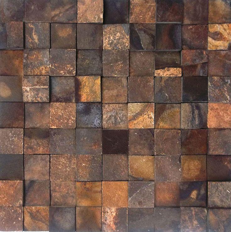 Mosaico Cód. MP 2111 – Pedra Ferro 3×3 – Revestimentos Mosaicos - Pedras para Paredes - Piso de Pedra – Pisos e Revestimentos