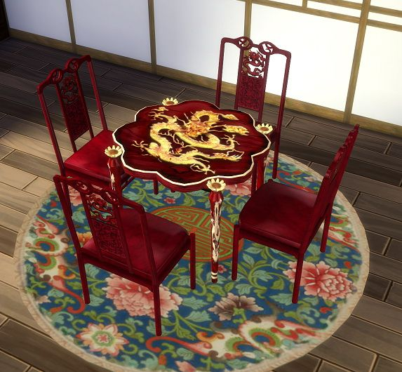 TS2 to 4 Asian Dining Chair Beta by BigUglyHag at SimsWorkshop via Sims 4 Updates