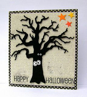 "Spooky ""Happy Halloween"" Tree Card...with googly eyes...Jan: Simply Made.  (Click on 2011 & then October to pull up the information on this card.)"
