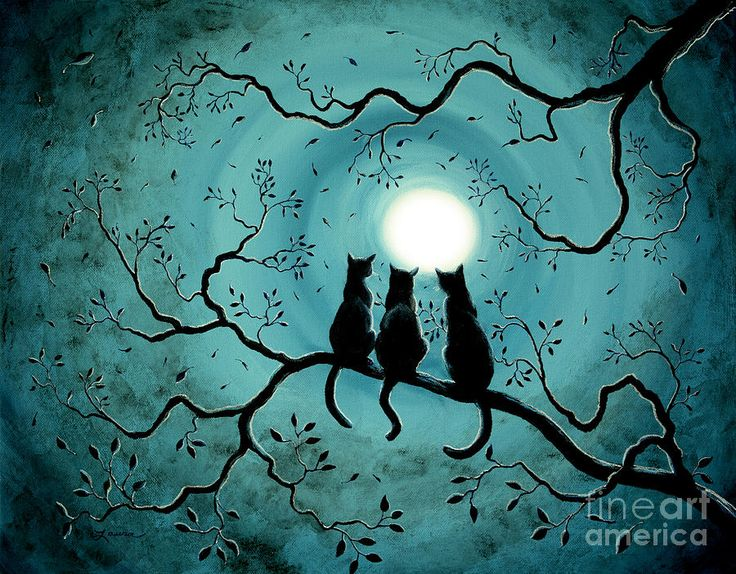 Black cats in the moonlight BY Laura Iverson