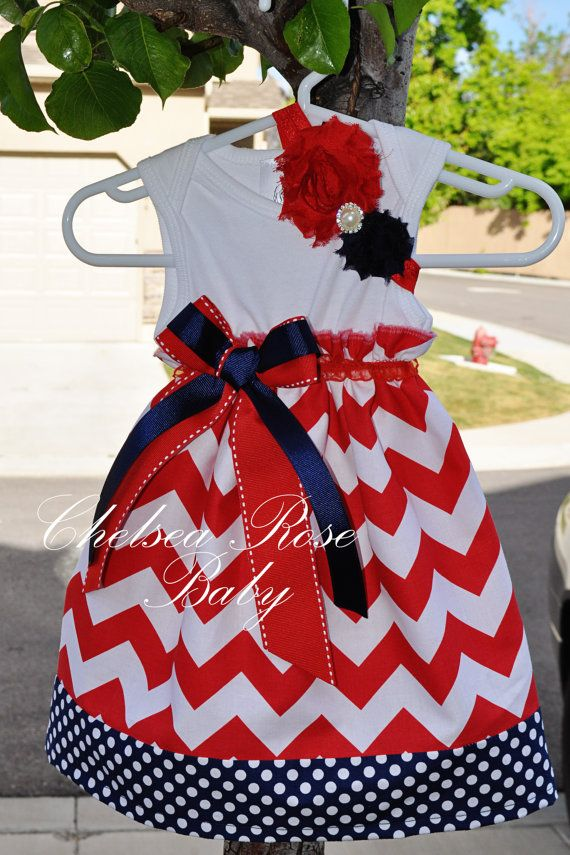 Baby and Girls 4th of July Chevron Dress by ChelseaRoseBaby, $38.00