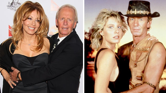 Linda Kozlowski and Paul Hogan today (left) and the couple in 1986 (Photo: Getty Images/Everett Collection)