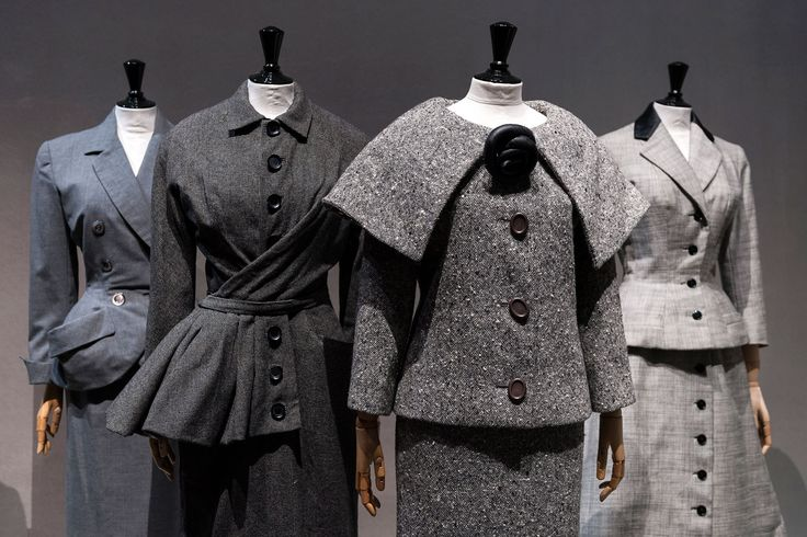 Fifties day outfits: from left, Christian Dior, a/w '49; Christian Dior, a/w '50; Pierre Cardin, a/w '58; Jacques Fath, s/s '55 Picture credit: Pierre Antoine via Suzy Menkes column - Fifties fashion (Vogue.com UK)