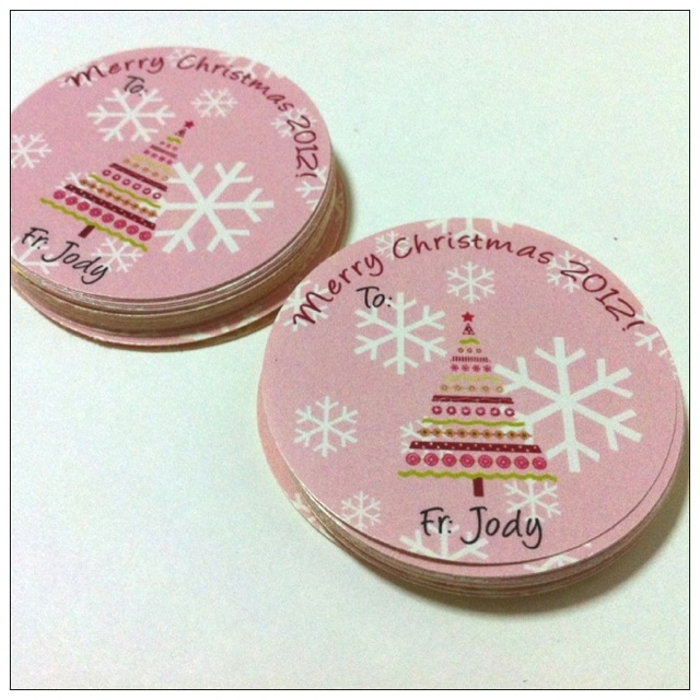 Merry Christmas 2012 snow flakes, Xmas tree stickers. Custom colors and names, great for labeling Xmas gifts.