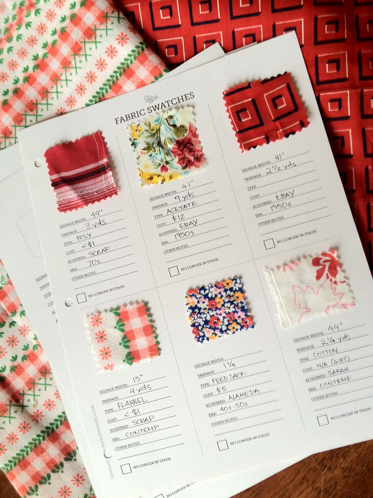 [Fabric Swatch Notebook Printable] FREE download from The Sew Weekly by Mena Trott.