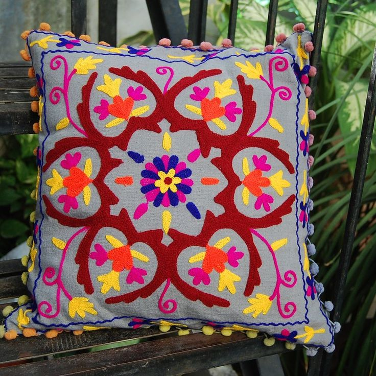 Home Decorative Embroidered Suzani Cushion Cover 16x16'' Indian Pillow Case #KhushiHandicraft