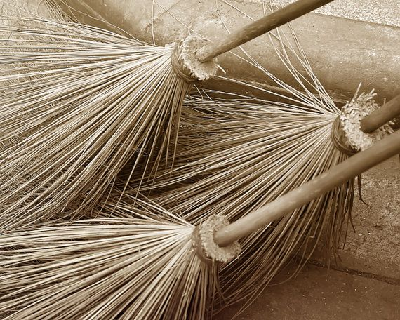Cottage decor straw brooms Thailand Asia wall art urban by bomobob, $30.00