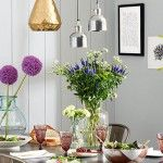 Dining Room Lighting Fixtures – Botanical Dining Room With Rowen & Wren Flori Tarnished Silver Pendant Light
