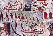 Composite image of petroglyphs from Scandinavia (Häljesta, Västmanland in Sweden). Nordic Bronze Age. The glyphs have been painted to make them more visible. - Petroglyph - Wikipedia, the free encyclopedia