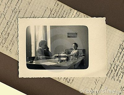 This original antique photograph is of a two young girls, taken in Italy. Background: an original notebook of the vintage