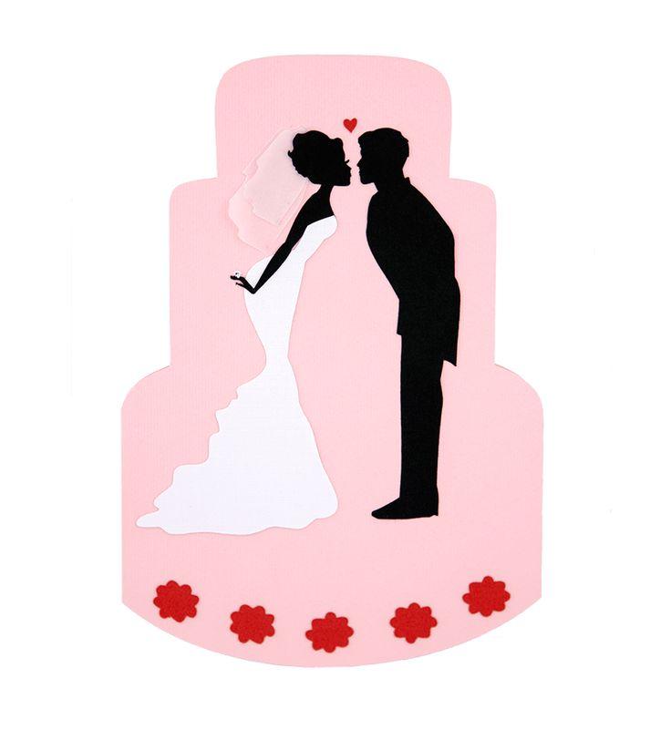 Invitatie nunta sub forma de tort, cu modele realizate din carton aplicat in multiple straturi