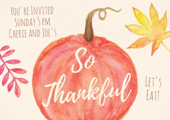 Easy DIY Thanksgiving Dinner invitation template with painted pumpkin and Autumn leaves. Created by ArtnerDluxe in Canva. Customize your own version @ https://www.canva.com/artnerdluxe. Art elements © ArtnerDluxe www.artnerdluxe.com