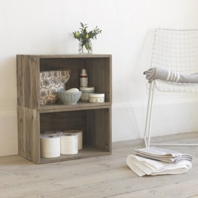 CRATE MATE The sort of friend you'd take home to meet your parents. These stackable boxes are made of reclaimed pine which can be attached together to form handy side tables, bedside tables or shelves.