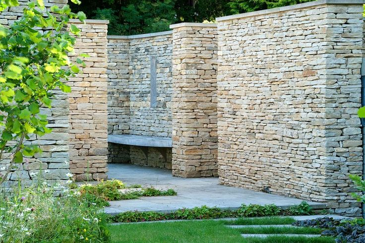 Dry stone walls and bench...because my little back yard could use some dry stone.   Dan Pearson Studio